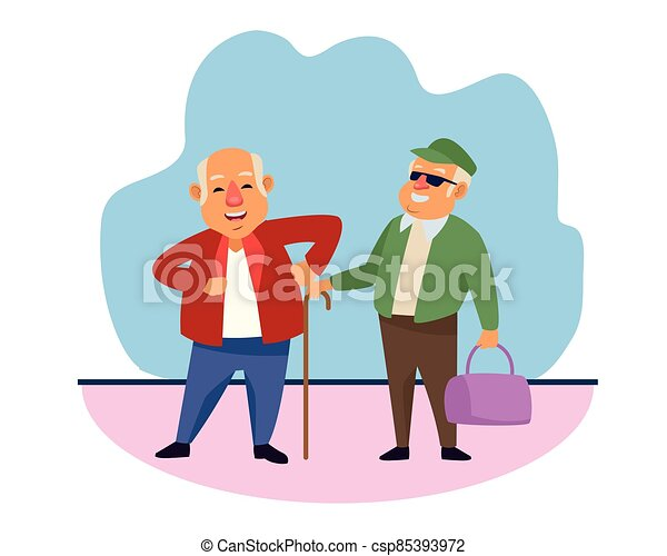 old men with handbag and cane active senior characters - csp85393972