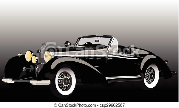 Line Drawing Vector Graphics : Old mercedes. vector graphic design of a classic car.