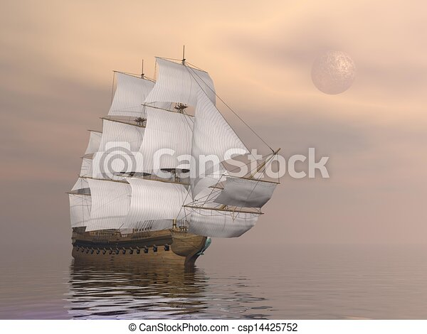 Old merchant ship - 3D render - csp14425752