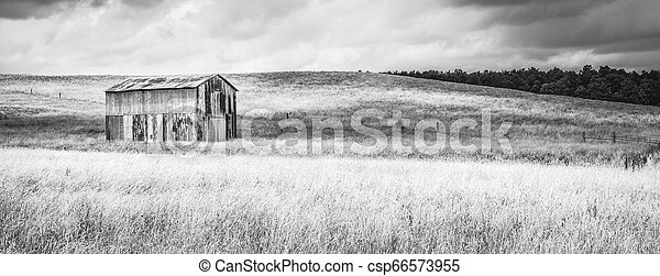 Old Metal Barn in a Field B&W - csp66573955