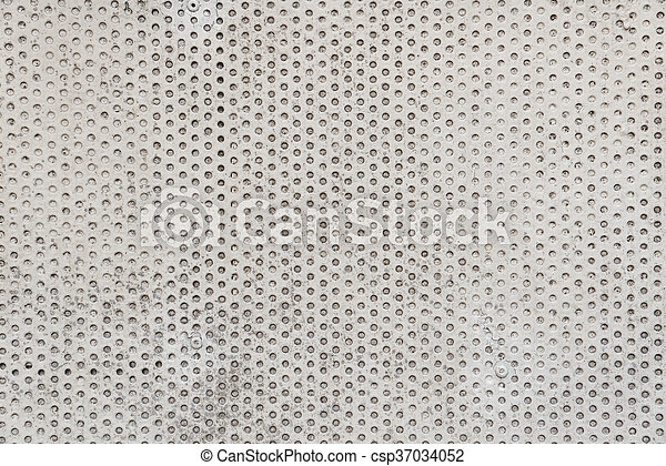 Old metal plate painted white with rust texture - csp37034052