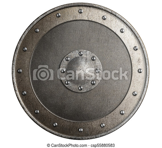 old metal shield isolated 3d illustration - csp55880583