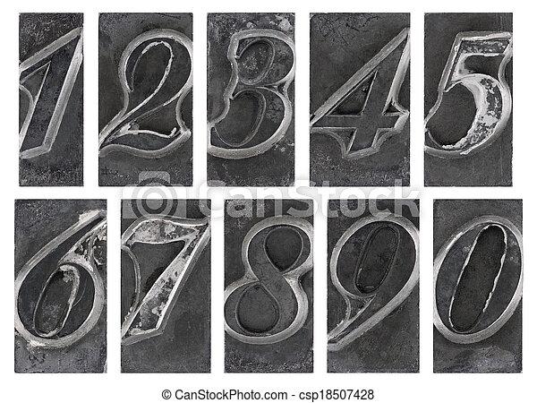 Old metal type numbers - csp18507428