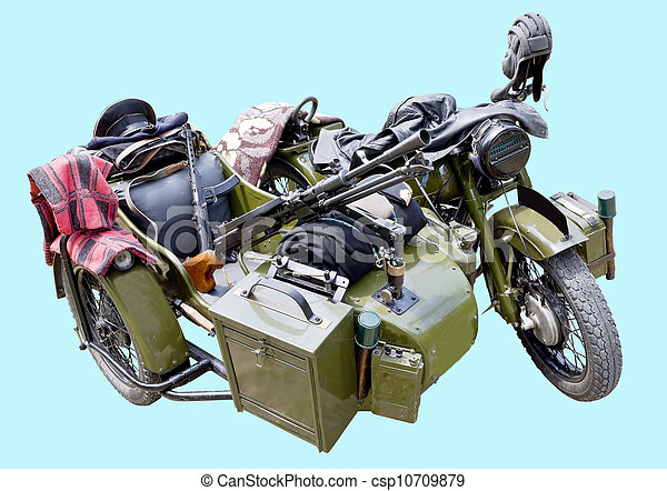 Old military motorcycle - csp10709879