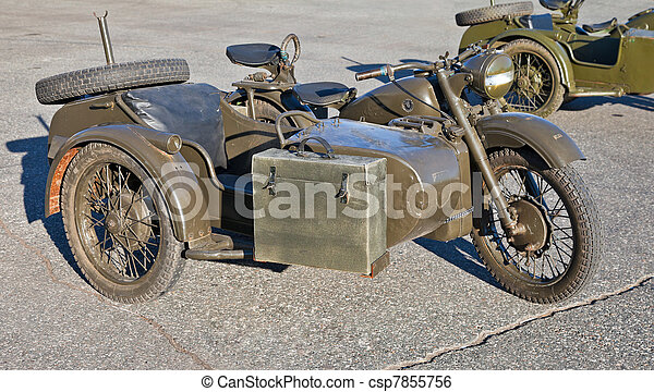 Old military motorcycle - csp7855756