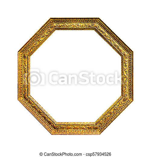 Old mirror hexagonal frame isolated on white background.