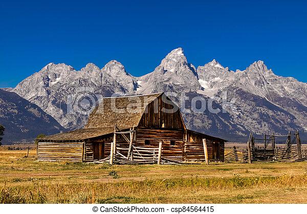 Old Mormon barn in Grand Tetons - csp84564415