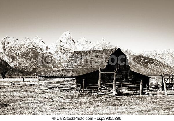 Old Mormon barn in monochrome - csp39855298