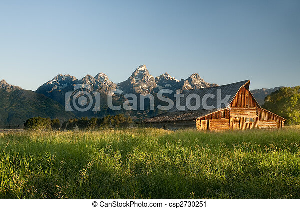 Old Mormon barn in the Tetons - csp2730251