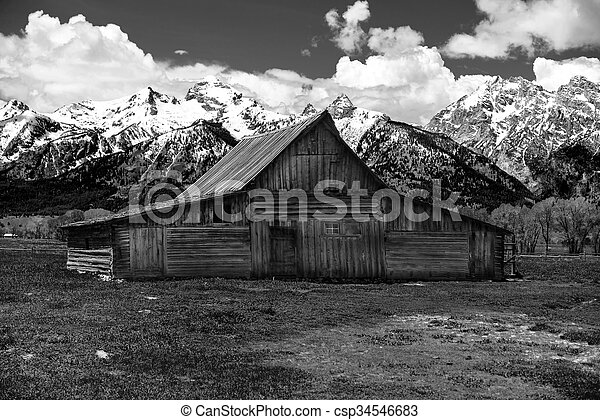 Old Mormon Barn in the Tetons - csp34546683