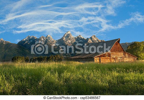 Old Mormon barn in the Tetons - csp53486567