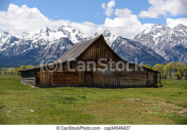 Old Mormon Barn in the Tetons - csp34546427