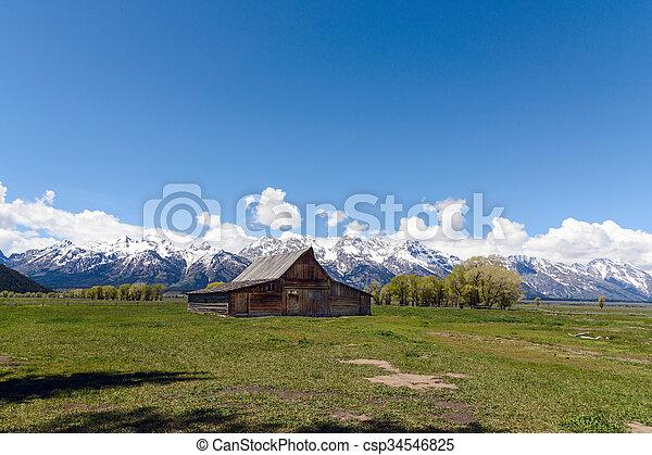 Old Mormon Barn in the Tetons - csp34546825