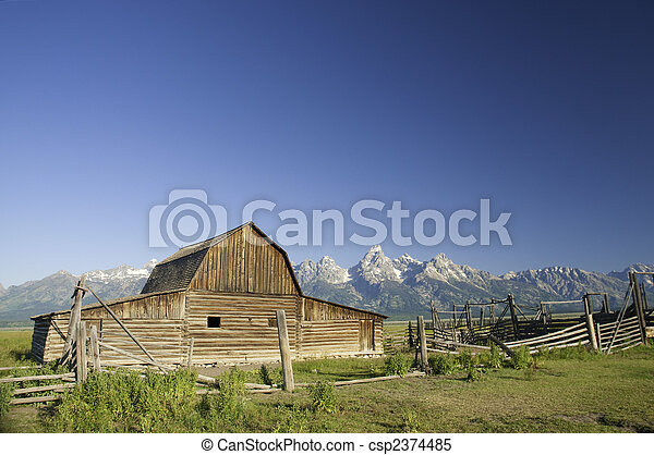 Old Mormon barn in Wyoming near the tetons - csp2374485