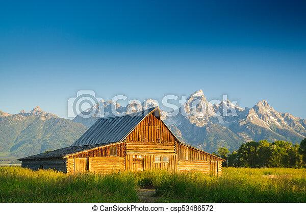 Old Moulton barn in Teton National park - csp53486572