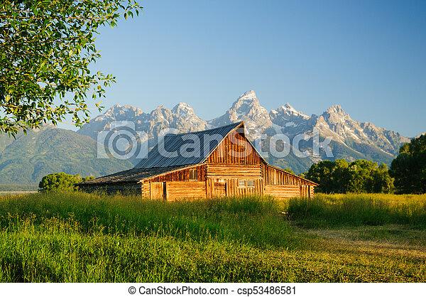 Old Moulton barn in Teton National park - csp53486581
