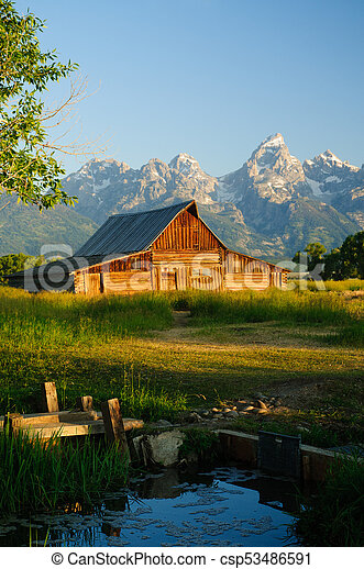 Old Moulton barn in Teton National park - csp53486591