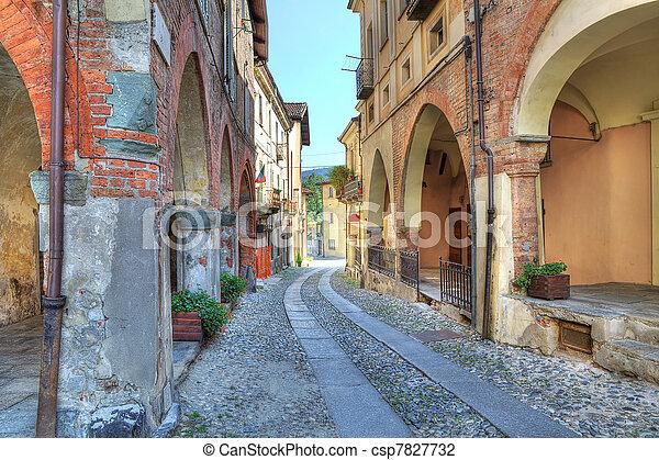Old narrow street among ancient houses in Avigliana, Italy. - csp7827732