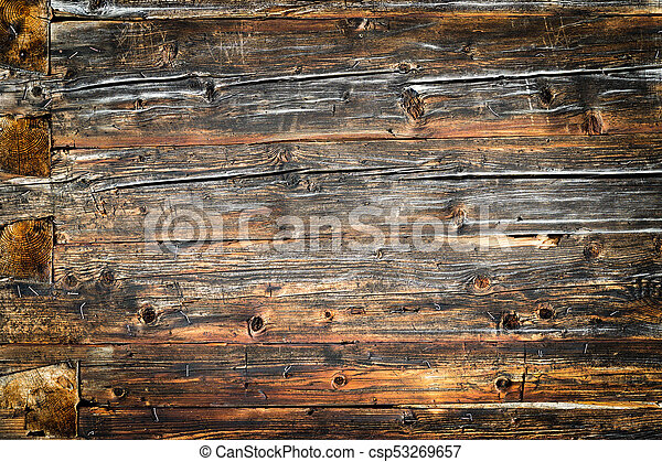 Old Natural Brown Wood Wall Of Log Cabin Wooden Textured Background