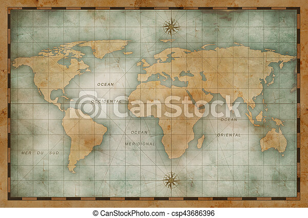 Old nautical world map background old nautical world map illustration old nautical world map background csp43686396 gumiabroncs Choice Image