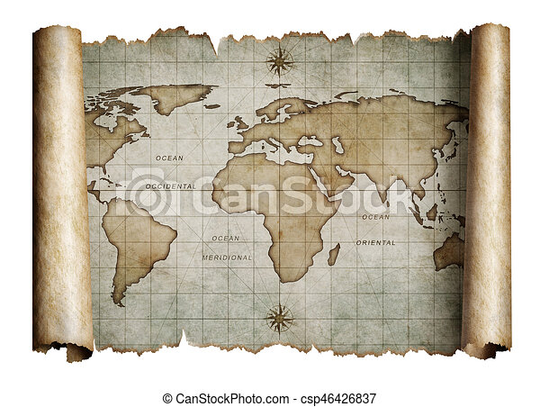 Old nautical world map scroll isolated old nautical world old nautical world map scroll isolated csp46426837 gumiabroncs Images