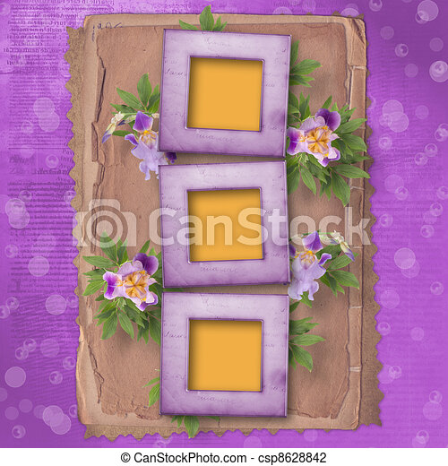 Old newspaper background with frame and bunch of flower.