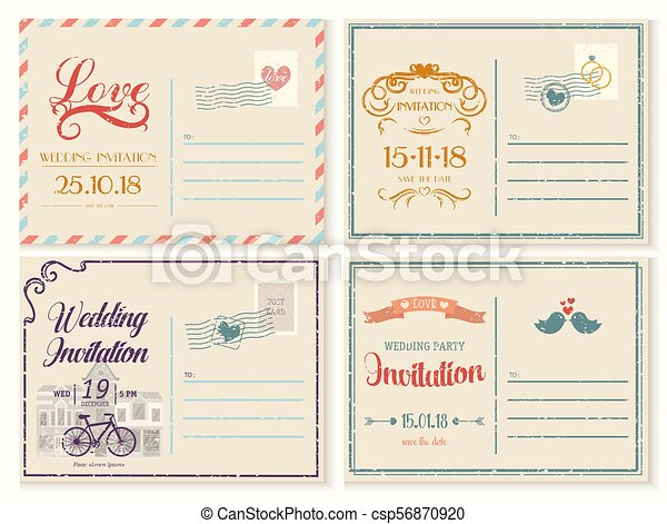 Old Or Retro Vintage Wedding Invitation Empty Card