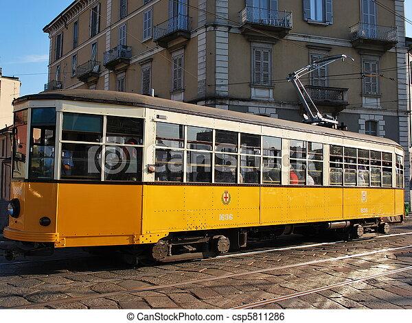Old orange tram, Milan - csp5811286