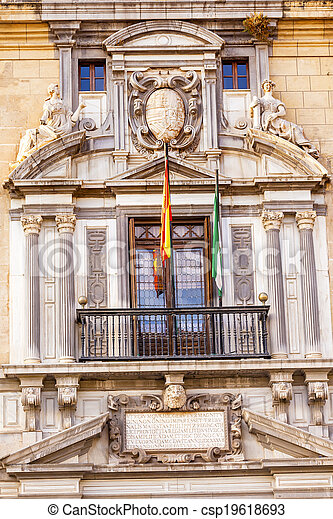 Old Ornate Spanish Government Building Spanish Crest Statues Flags Granada Andalusia Spain  - csp19618693