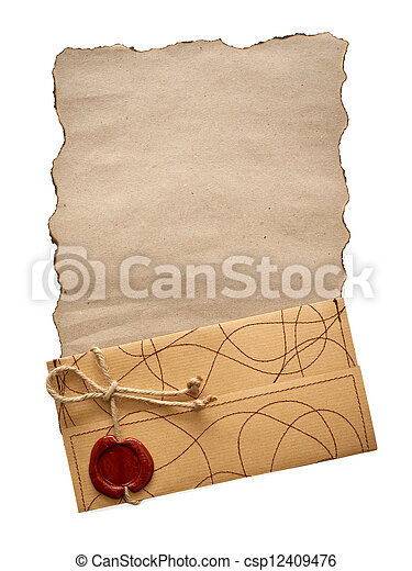 old paper and envelope isolated - csp12409476
