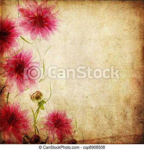 Old paper background with flowers old paper background with flowers csp8908508 mightylinksfo