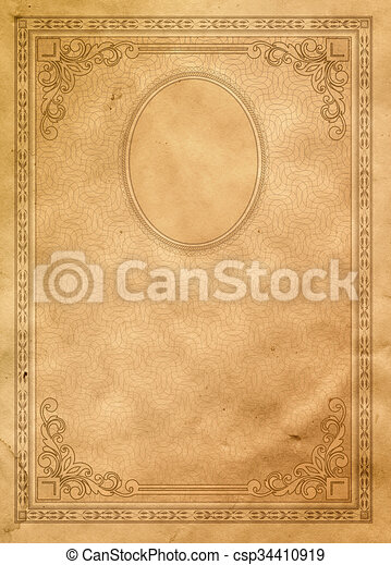 Old Paper Background With Vintage Border And Frame