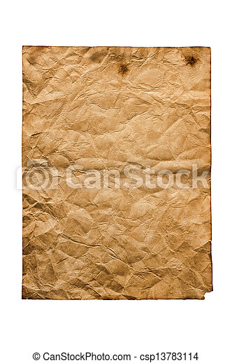 old paper isolated on a white background  - csp13783114