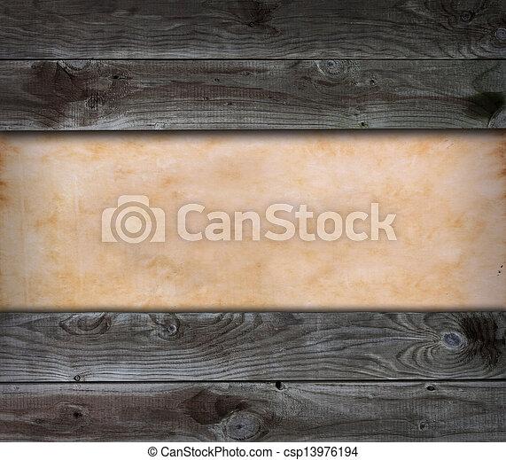 old paper on vintage wood background - csp13976194