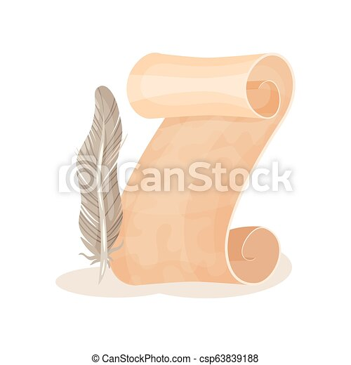 Old paper scroll and quill pen, symbols of retro writing, science and  knowledge vector Illustration on a white background