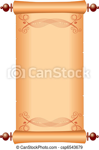 Old paper -scroll with vignettes for text - csp6543679
