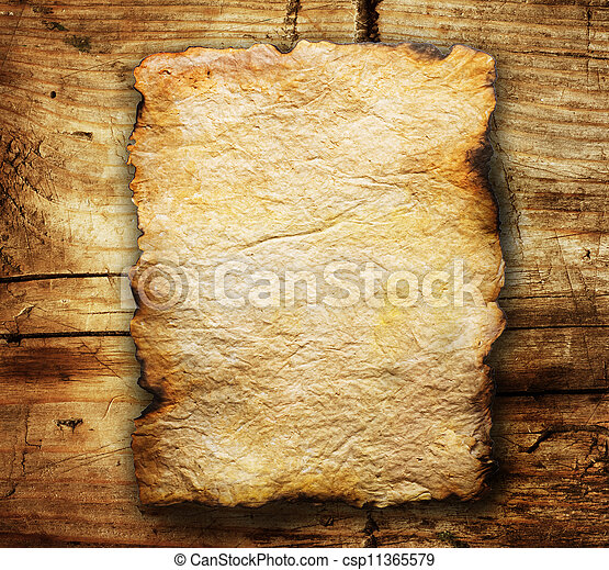 Old Paper Sheet Over Wooden Background  - csp11365579