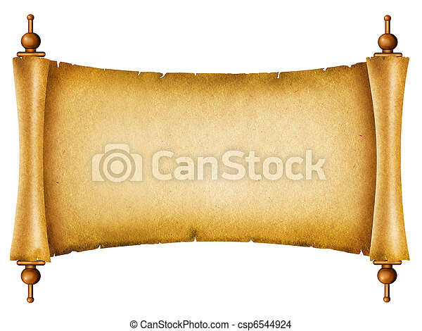 Old paper texture. Antique background scroll for text on white - csp6544924