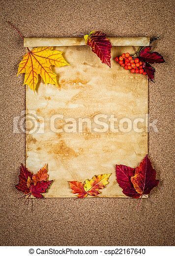 Old paper with autumn leaves - csp22167640