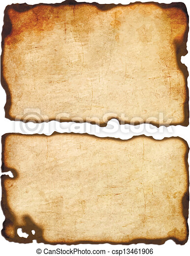 Old paper with burnt edges isolated on white background Vector eps8 - csp13461906