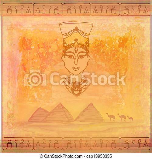 old paper with Egyptian queen  - csp13953335