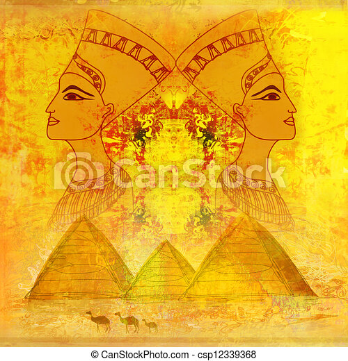 old paper with Egyptian queen  - csp12339368
