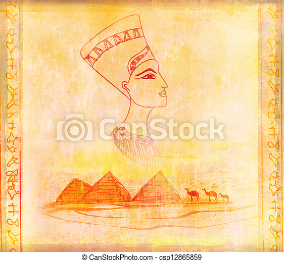 old paper with Egyptian queen  - csp12865859
