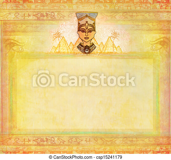 old paper with Egyptian queen  - csp15241179