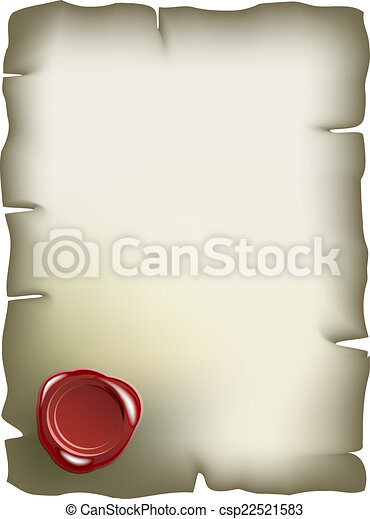 Old paper with red wax seal - csp22521583