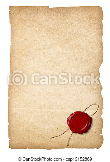 Old paper with wax seal isolated. Clipping path is included. - csp13152869