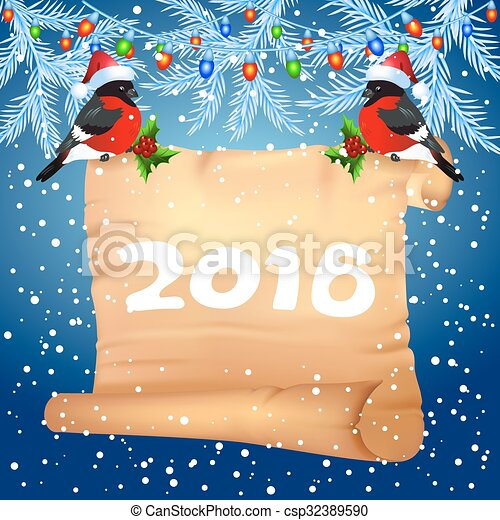 Old parchment with bullfinches in Santa Claus hat - csp32389590