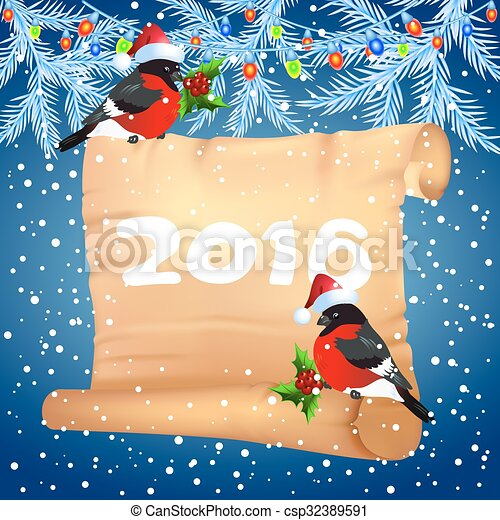 Old parchment with bullfinches in Santa Claus hat - csp32389591