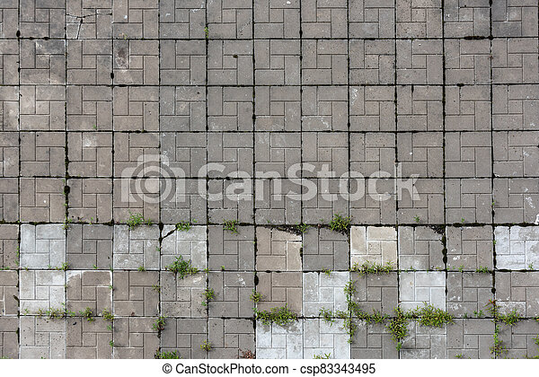 Old paving slabs with sprouted grass - csp83343495