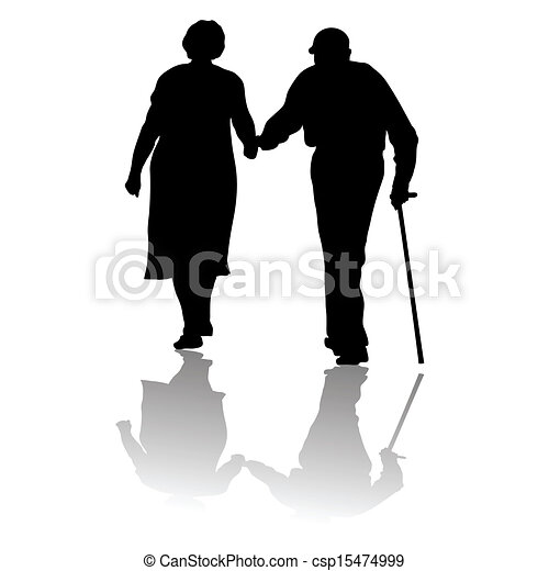 old people silhouette of an old couple keeping for hands eps rh canstockphoto ca funny old couple clipart old age couple clipart